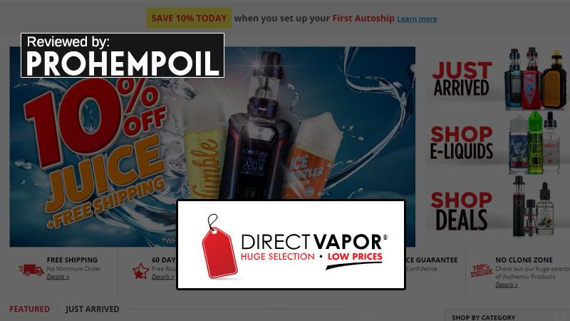 Direct Vapor homepage screenshot