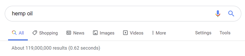 hemp oil search results